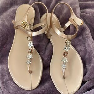 GUESS jelly sandals, cute floral jewels